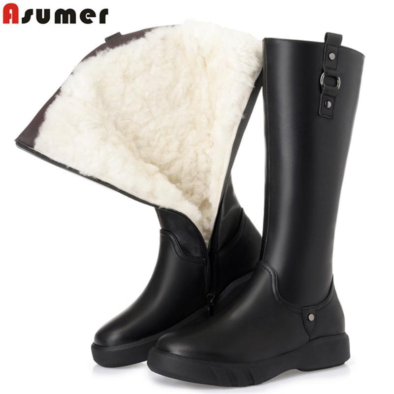 ASUMER 2019 الأزياء حذاء برقبة للركبة النساء الشتاء الأحذية منصة بو + جلد البقر الأحذية المسطحة مع الدفء الصوف الثلوج النساء-في بوت للركبة من أحذية على  مجموعة 1