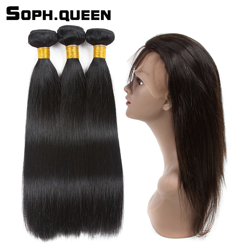 Soph queen Natural Black Peruvian Hair Straight Wave 3 Bundles With 360 Lace Frontal Closure Remy