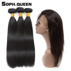 Соф Королева натуральный черный перуанский волосы прямые волны 3 Связки с 360 Синтетический Frontal шнурка волос Синтетическое закрытие волос