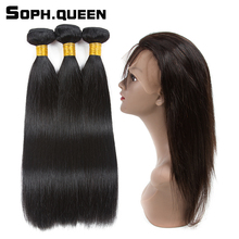 Soph queen Natural Black Peruvian Hair Straight Wave 3 Bundles With 360 Lace Frontal Closure Remy Human Hair Extension