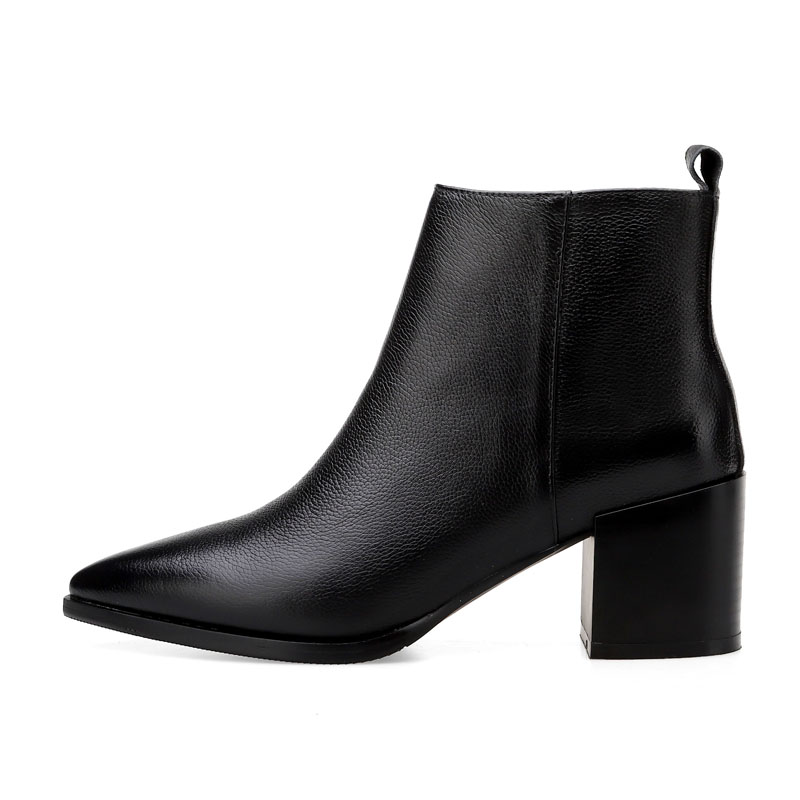 ISNOM prawdziwej skóry kobiet botki Pointed Toe Zip obuwie grube szpilki kobiece buty nowe buty damskie 2020 zima w Buty do kostki od Buty na  Grupa 2
