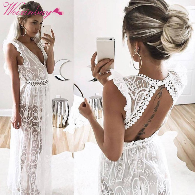 WEIXINBUY 2018 Summer Sexy Hollow Out White Lace Dress Women High Waist Sleeveless Backless Elegant Christmas Maxi Long Dresses