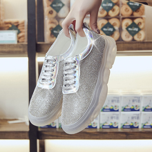 Vulcanized Shoes Woman Sneakers Trainers Sequined Glitter Silver Sparkly Ladies Casual Bling Zapatillas Mujer