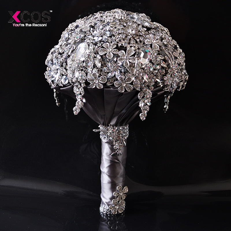Sparkly Beaded Crystal Diamond Wedding Bouquet 2018 New Luxury Bride Handle Bridal Bouquets