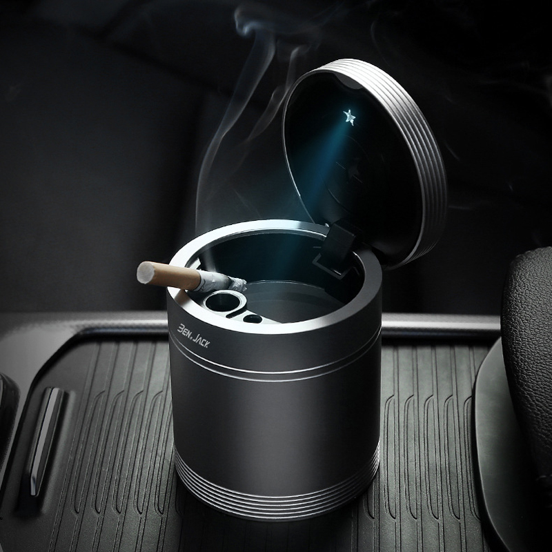 Car Ashtray Lid Accessories Creative Personality Multi functional Metal Autos Cigar Luminous Lighter cenice led smart tray