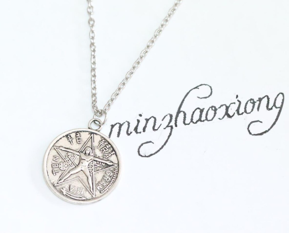 Us 0 2 80 Off Vintage Antique Silver Pentagram Charm Pendant Chain Necklace Wiccan Pagan Jewelry For Women Men Gift 1pcs In Necklaces From