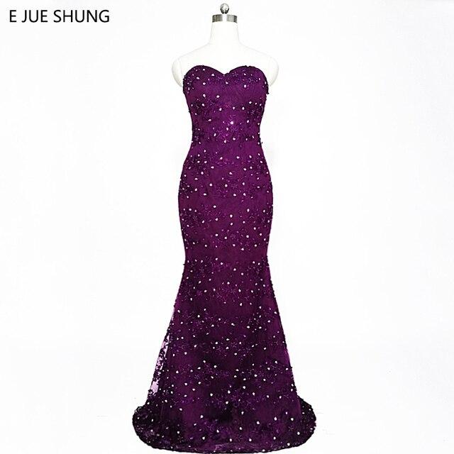 bb41aeb24d842 Avondjurk Purple Lace Pearls Luxury Mermaid Evening Dresses Long 2017  Sweetheart Formal Dresses Long Evening Gowns