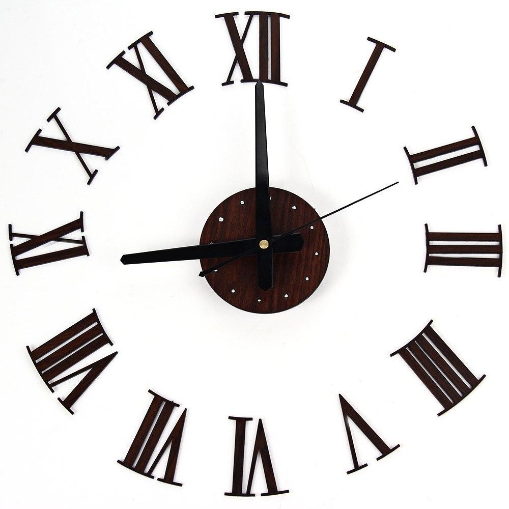 Diy Vintage Wooden Wall Clock Roman Numerals Retro Vinyl