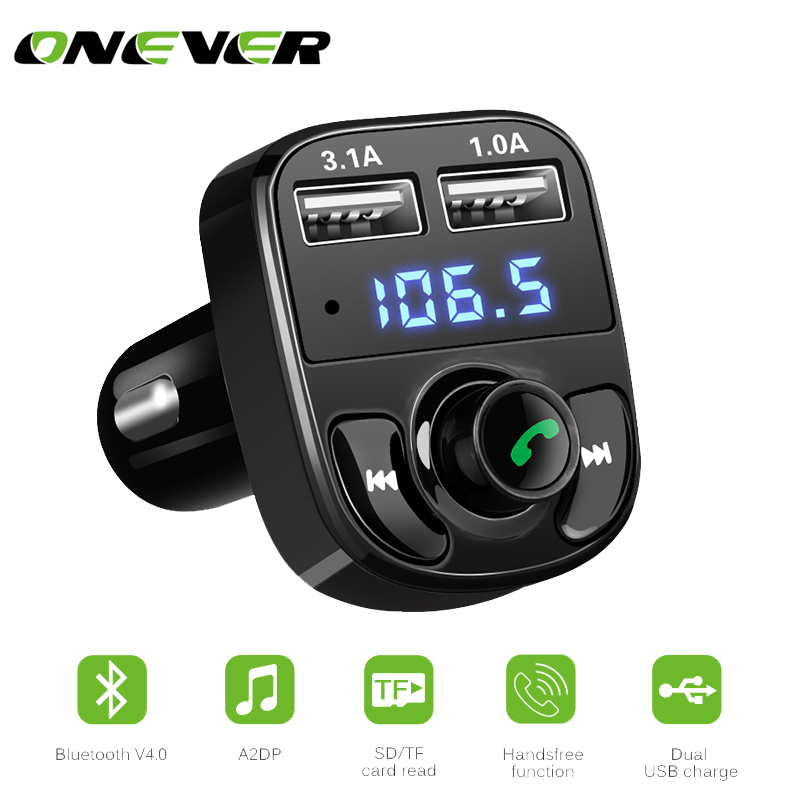 1Pcs Bluetooth Car Kit FM Transmitter MP3 Player With LED Dual USB 4.1A Quick Charger Voltage Display Micro SD TF Music Playing FM-трансмиттер