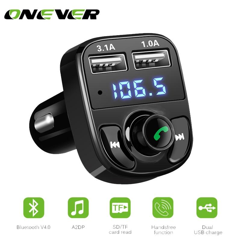 1 шт. Bluetooth гарнитура для авто fm-передатчик MP3-плееры со светодиодной Dual USB 4.1a Быстрый Зарядное устройство Напряжение Дисплей Micro SD TF Музыка играет