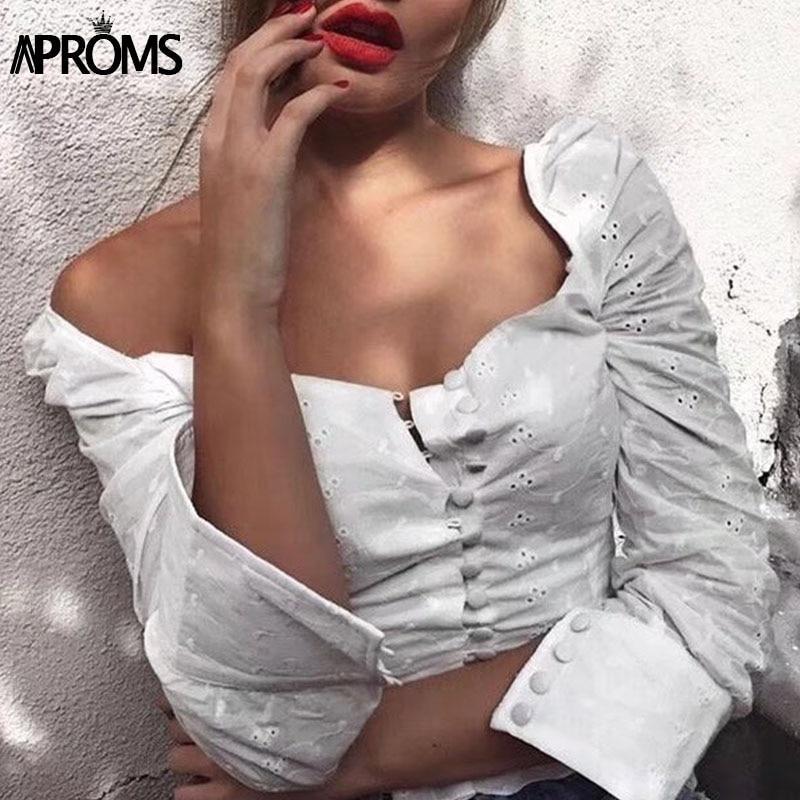 Aproms пикантные с квадратным вырезом с длинным рукавом кружева вязаный крючком блузка рубашка Для женщин пуговицах белый кроп-топы сезона ле...