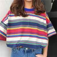 Women's T-shirts Tunic Japan Harajuku Ladies Ulzzang Fresh Color Striped Rainbow T-shirt Female Korean Kawaii Tops For Women