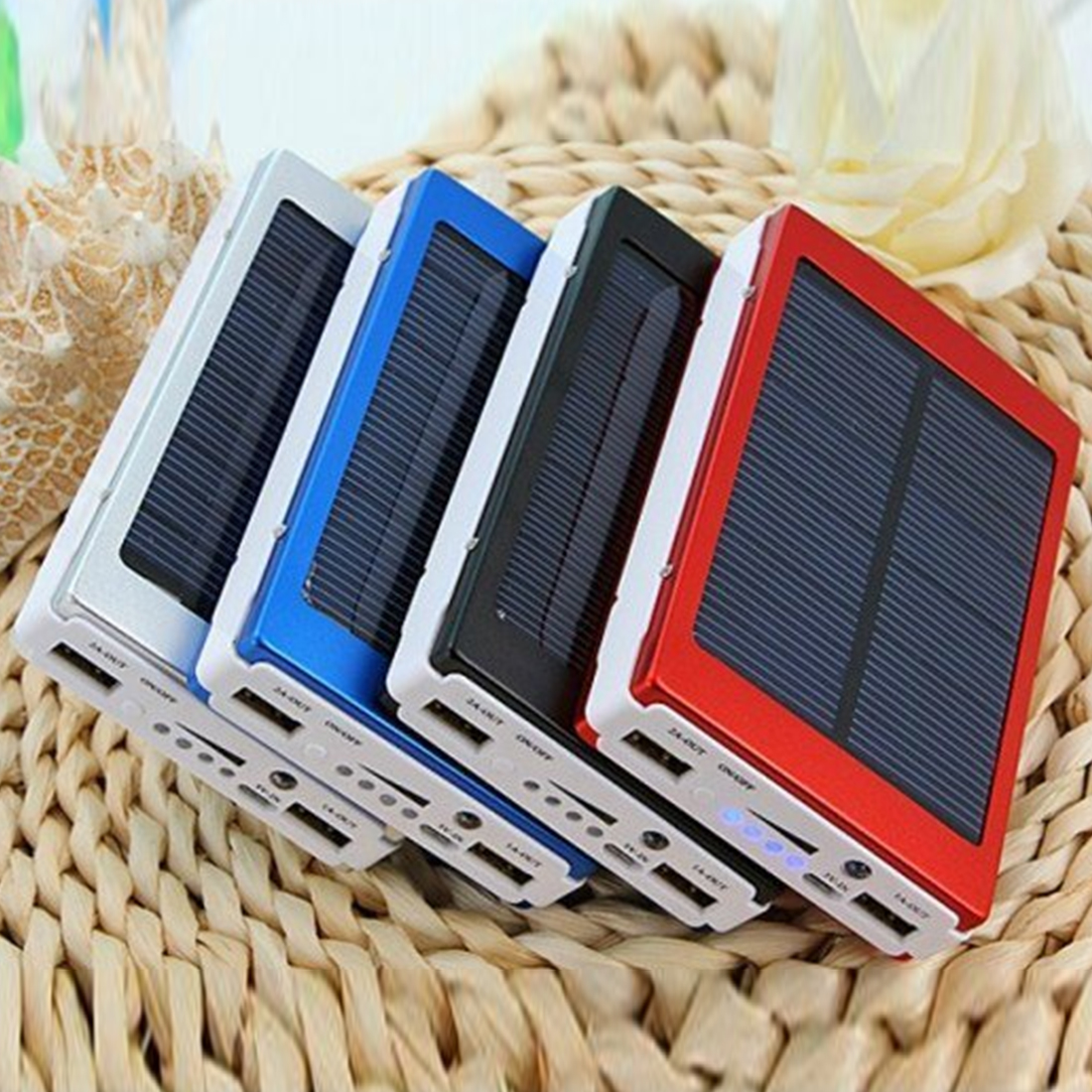 New 30000mAh Solar Battery Portable Charger Dual Output USB External Battery High Capacity Long Lasting for Mobile Phone Solar