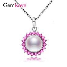 Gemlove Perla Collar de Flores de Plata de ley 925 Joyería de Las Mujeres Collar de Perlas Naturales Suspensiones con Cadena Caja De 40% LN185(China (Mainland))