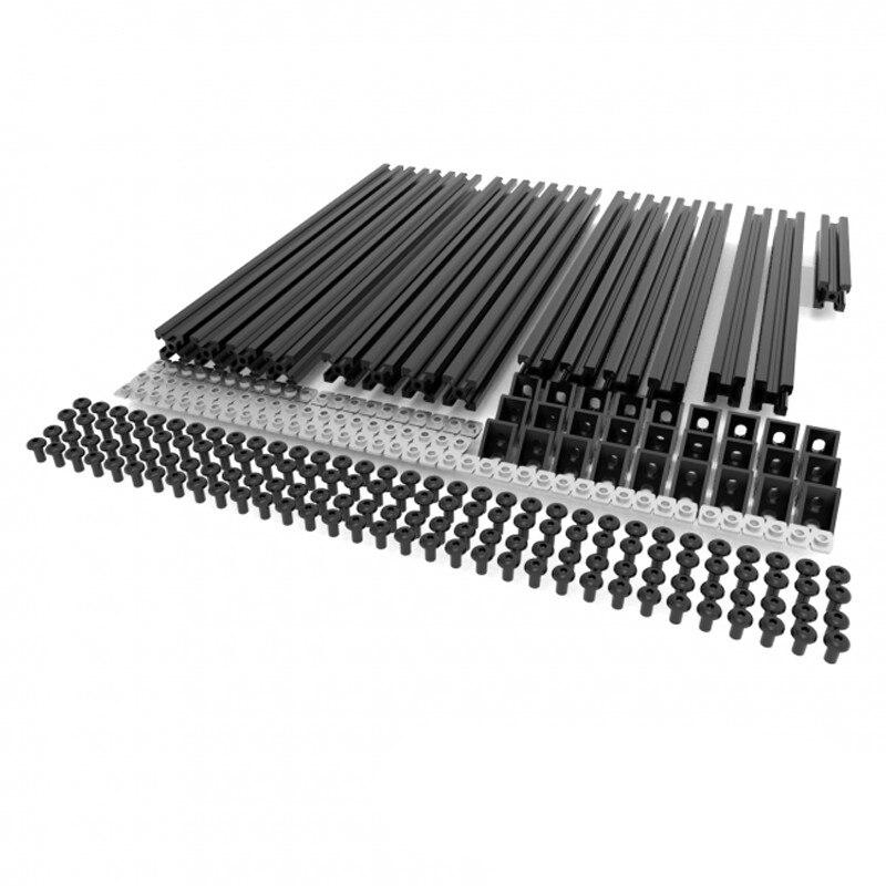 Alle Schwarz/Silber Hypercube 3D Drucker Extrusion Metall Rahmen & Hardware Kit Für DIY HyperCube 3D Drucker/CNC maschine