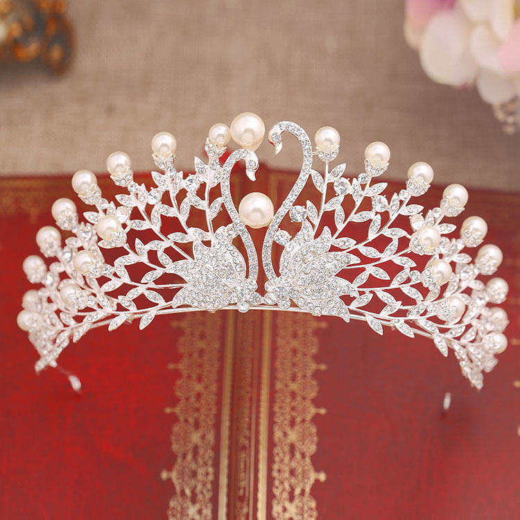 imitated pearl crystal swan large Princess crown Bridal tiara Wedding hair Jewelry Wedding headdress wholessale