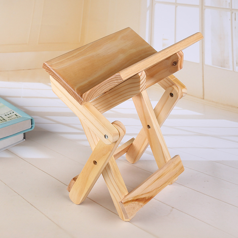 Simple Portable Folding Wooden Stool, Ottomans for Kids, Living Room ...