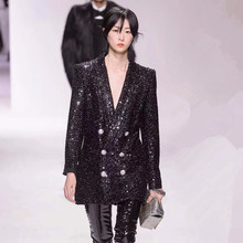 New 2019 spring women double breasted blazers jackets Chic sequins coat D965
