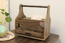 [House] Japanese original product burned-tong wood handbaskets hand tissue box storage box storage basket rotating tray 306