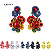 KPACTA New Design Ethnic Style Leather Drop Earrings Fashion Jewelry Women Soutache Handmade Weaving Big Hanging Earring Gift