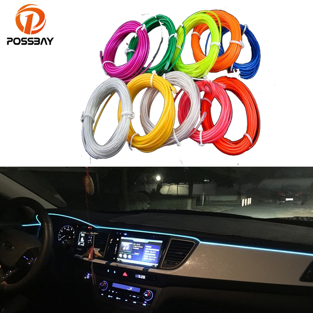 POSSBAY Hot Sale 10 Colors DIY Car Interior LED EL Strip Tube Wire Rope Neon Glow Light Line Car Styling Car Neon LED Rope Light
