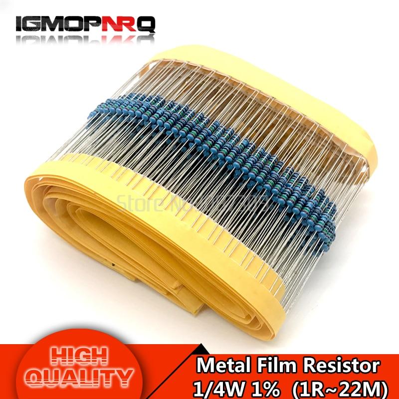 цена на 100pcs Metal film resistor 1/4W series 1R~2.2M 1%  resistance 10K 22K 47K 100K 100 220 1K5 100R 220R 1K 1.5K 2.2K  4.7K 4K7 ohm