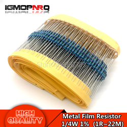 100pcs Metal film resistor 1/4W series 1R~2.2M 1%  resistance 10K 22K 47K 100K 100 220 1K5 100R 220R 1K 1.5K 2.2K  4.7K 4K7 ohm