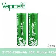 Бесплатная доставка, 2 шт., батарея Vapcell 21700, 4200 мАч, 30 А, molicel P42A, аккумуляторная батарея для электронной сигареты