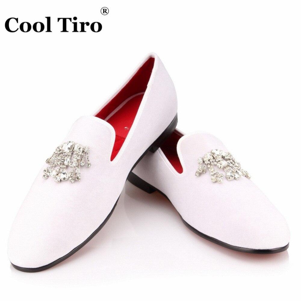 Crystal Tassel White velvet Loafers Men Flats (10)