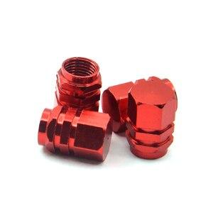 Image 5 - 4 개/대 알루미늄 합금 자동차 타이어 밸브 모자 붉은 색 자동차 스타일링 타이어 줄기 공기 캡 자동 휠 커버 타이어 액세서리