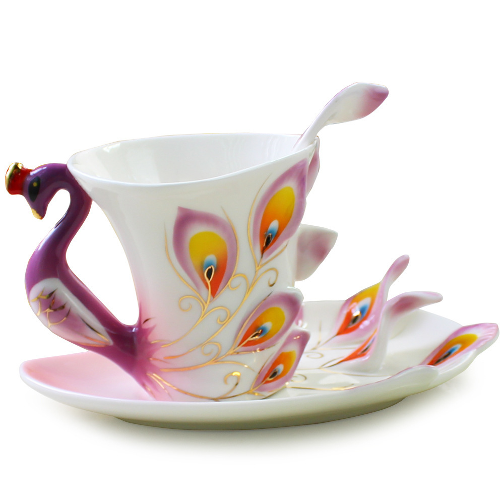 Creative Peacock 3d Ceramic Teapot Set Cup Tray Spoon 3 In