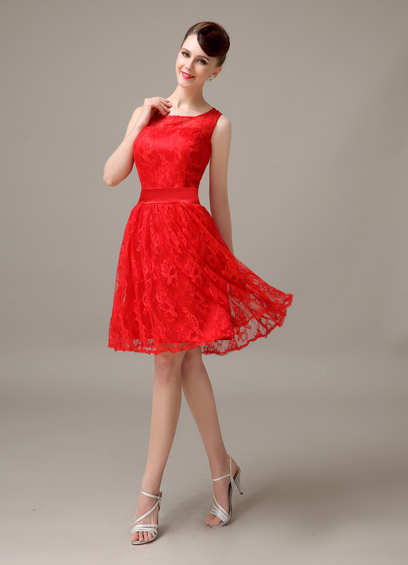 red lace short cheap simple discount modest bridesmaid dress ...