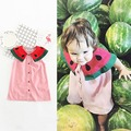 2017 Girls Dress Children Pink Dresses Sleeveless watermelon style baby Dresses Kids summer Clothes casual dress for girls