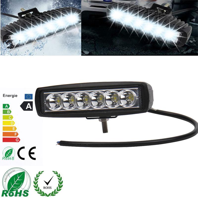 10Pcs 6 Inch 18W LED Work Light for Indicators Motorcycle Driving Offroad Boat Car Tractor Truck 4x4 SUV ATV Spot 12/24V