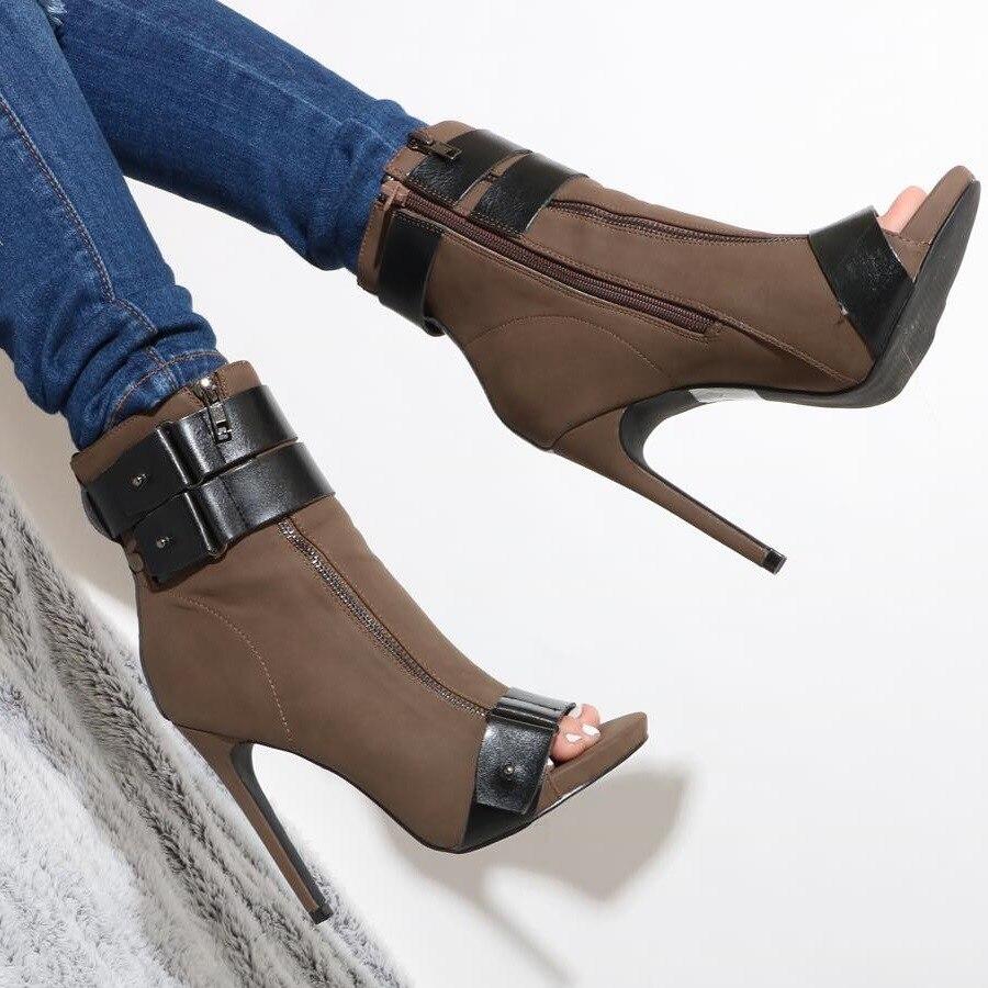 Unique Designer Coffee Black Patchwork Short Boots Zipper Belt Strap Ankle Boots Peep Toe Color Matched Dress Shoes High Heels