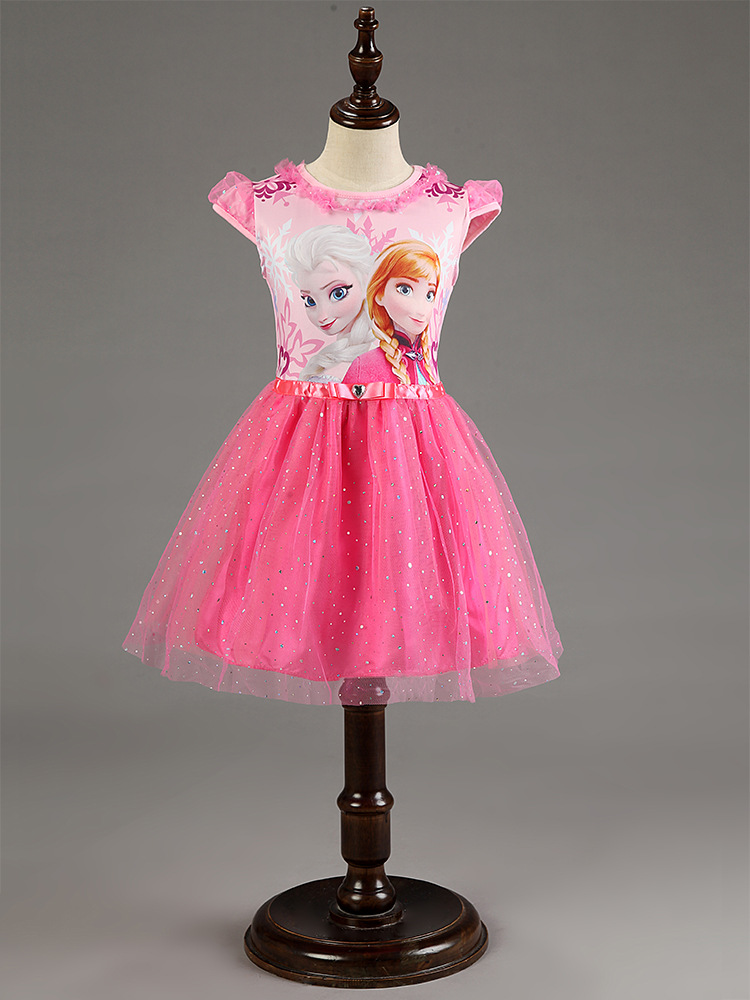 Hot Girl Dress Summer Brand Toddler Girls Clothes Lace Sequins Princess Anna Elsa Dress Snow Queen Halloween Party Costume 3-7Y