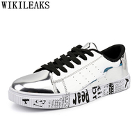 designer leather shoes men luxury brand silver golden sneakers mens shoes casual shoes men tenis feminino casual zapatillas muje