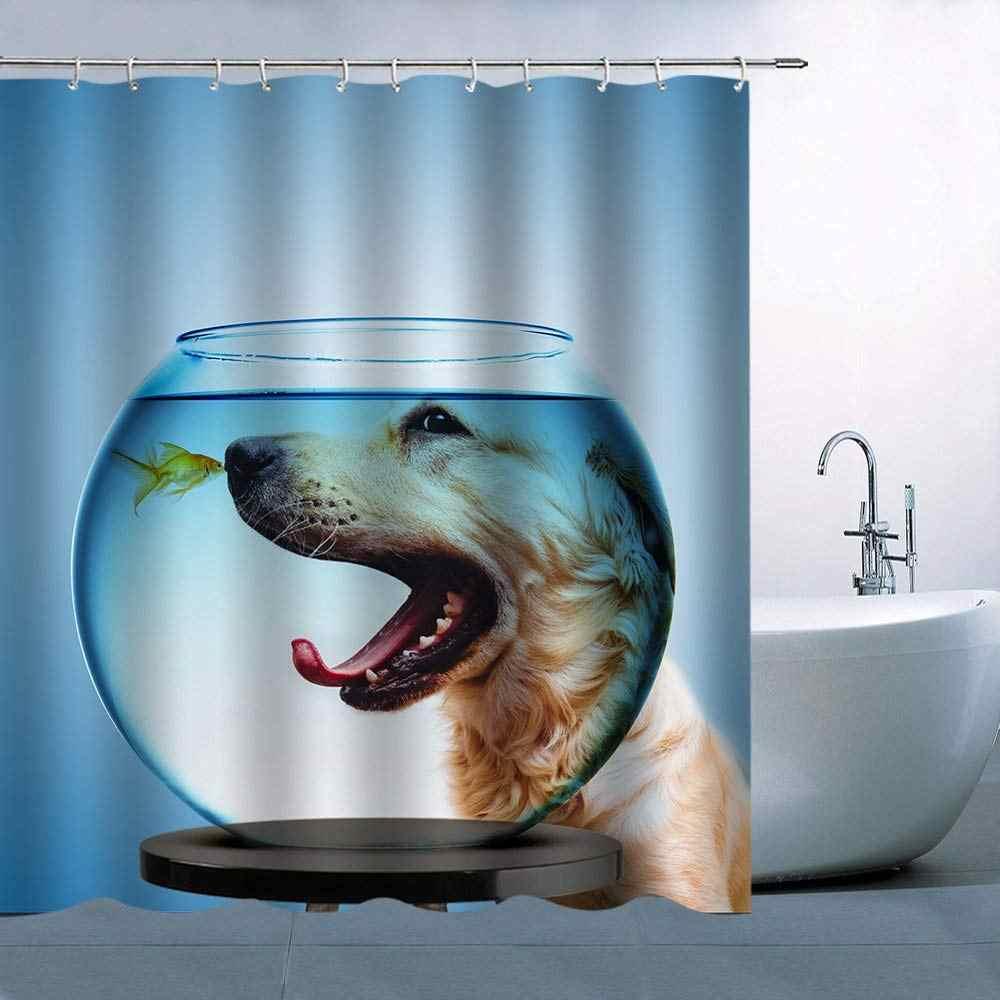 Собака Рыба шаблон предмет для душа занавес собака смотреть Золотая рыбка внутри аквариум синий фон водонепроницаемый