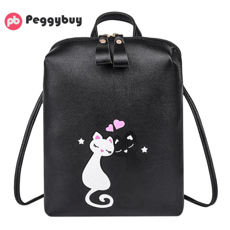 Cat Printed Backpack School bags for women 2018 Leather Schoolbags Backpack Mochila Feminina bolsa feminina mujer Shoulder Bags