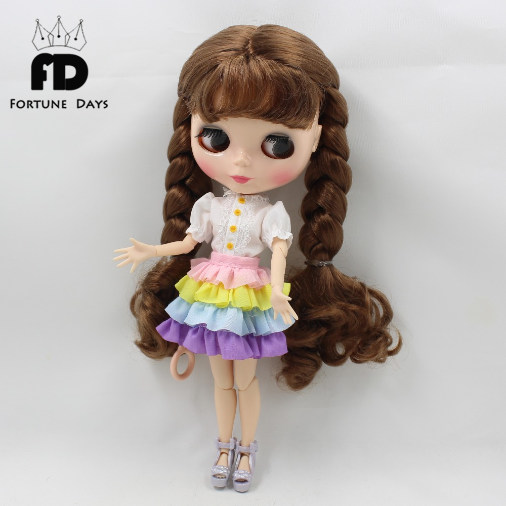 New Dress For Blyth Doll Clothes Christmas Gift toy rainbow dress white shirt for blyth doll 1/6 30cm doll цена и фото
