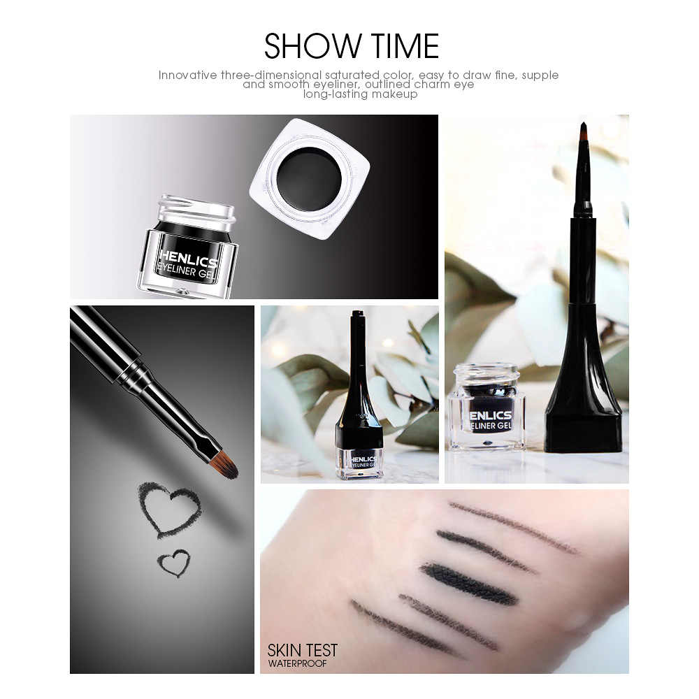 França HENLICS Maquiagem Delineador Em Gel cor Preta Delineador em Creme com Make Up Brush Tool 24 Horas de Longa Duração À Prova D' Água delineador