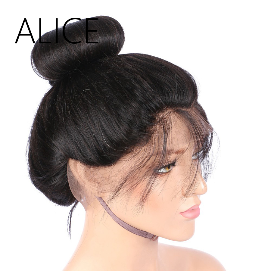 ALICE 180 Density Full Lace Human Hair Wigs Silky Straight Natural Hairline 8-24 Inches Brazilian Virgin Wigs With Baby Hair