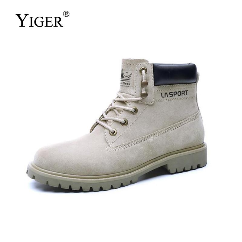 Ankle Cow Suede Lace-up winter men's shoes