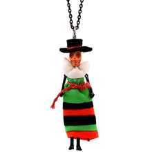 Trendy colored skirt Doll Necklace Dress Handmade Halloween Skull Doll Pendant  News Alloy Girl Women Flower Fashion Jewelry стоимость