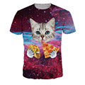 2017 NEW Surprised cats t-shirt fluffy cuddly terrified cat faces awesome t shirt women men 3d summer tee shirt Unicorn Printed