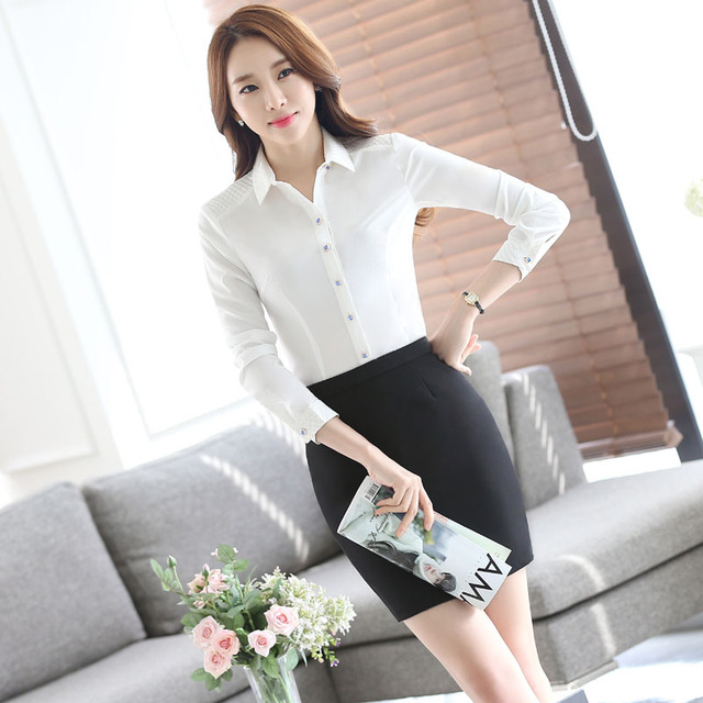Novelty White Formal Professional Work Suits Spring Autumn Long Sleeve With 2 Piece Skirt And Blouses Ladies Shirts Tops Outfits