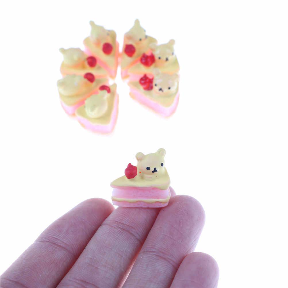 5 Pçs/set Bonito Em Miniatura DIY Ofício Kawaii Apartamento de Volta Falso Alimentos Resina Artificial Bolo Urso Boneca Casa Decorativo Jogo Brinquedo