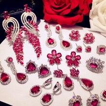 Boucles doreilles Vintage pour femmes, en argent Sterling, rubis, rouge, zircone cubique, bijou de luxe, qualité supérieure, pour tempérament