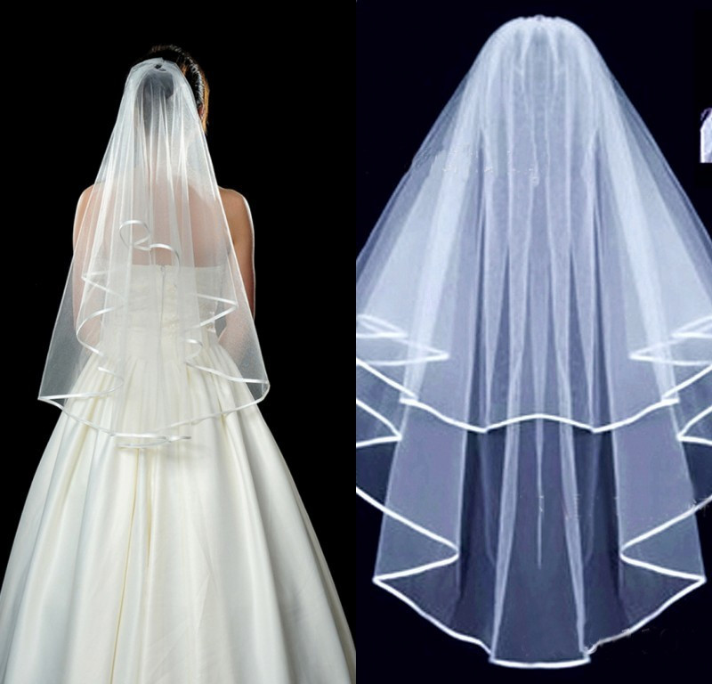 JaneVini Best Selling Two Tier Wedding Veil With Comb White Ivory Ribbon Edge Short Bridal Veils Bride To Be Voile Mariee Court