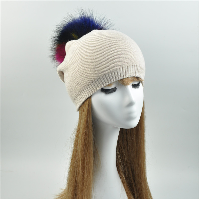 Women Beanies Raccoon Fur Pom Poms Wool Hat Female Knitted 2017 Fashion Ladies Multicolor Fur Pompon Cap Winter Hats For Women women bonnet beanie raccoon fur pom poms wool hat knitted skullies fashion caps ladies knit cap winter hats for women beanies